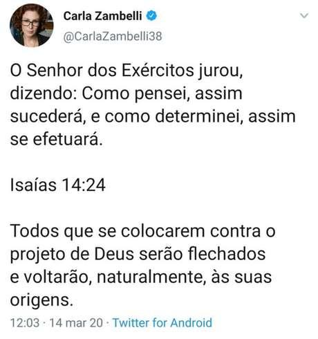Tuíte excluído por Carla Zambelli, postado após a morte do ex-ministro Gustavo Bebianno