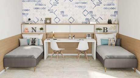 17. A cor de cerâmica para quarto compartilhado escolhida foi branco. Fonte: Pinterest