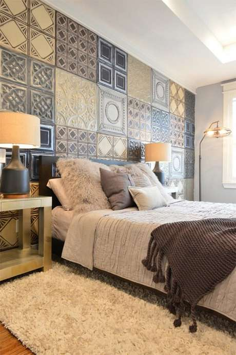 1. Cerâmica para quarto com superfície estampada. Fonte: Haus Decoração