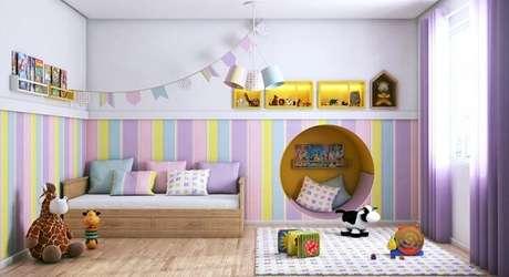 46. Piso cerâmico para quarto infantil. Fonte: Pinterest