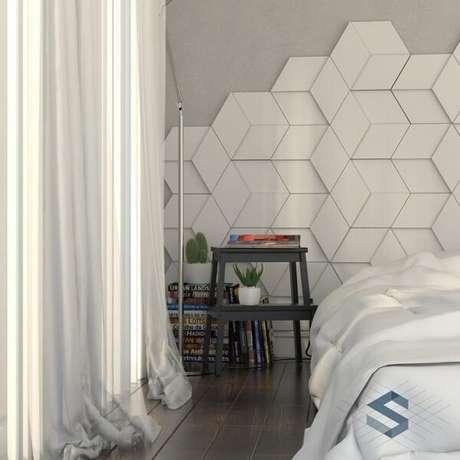 53. Renove seu dormitório utilizando cerâmica na parede. Fonte: Pinterest