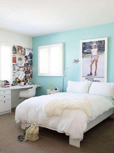 85. Decoração azul Tiffany para quarto feminino – Foto: Pinterest