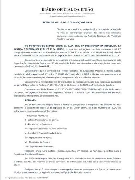 Decreto do governo federal determina o fechamento de fronteiras terrestres