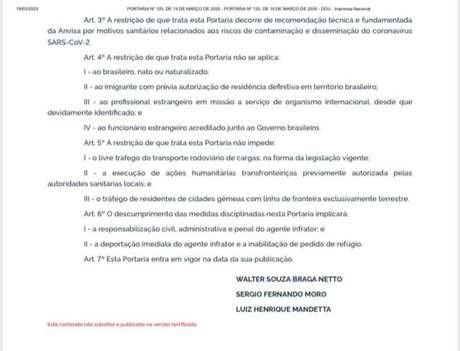 Decreto do govenro federal determina o fechamento de fronteiras terrestres