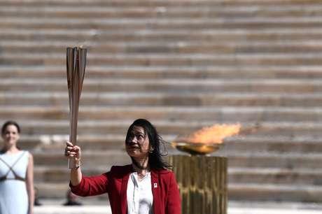 Cerimônia de entrega da chama olímpica em Atenas 19/03/2020 Aris Messinis/Pool via REUTERS