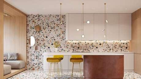 31. Combine os móveis com o piso e revestimento dos armários – Via: Pinterest