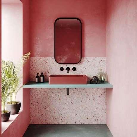 40. Granilite cor de rosa para banheiro – Via: Pinterest