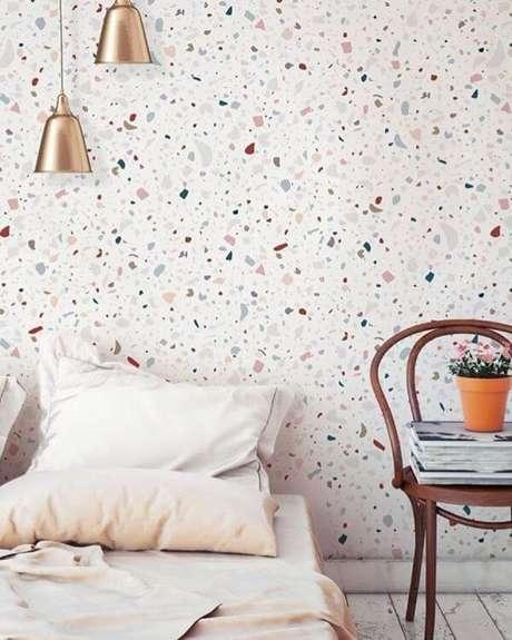 46. Quarto com papel de parede colorido e moderno – Via: Pinterest
