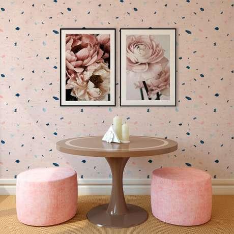 50. Papel de parede granilite cor de rosa – Via: Pinterest
