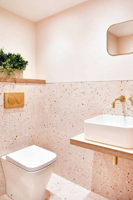 16. Revestimento granilite para banheiro cor de rosa – Via: Projetos Criativos