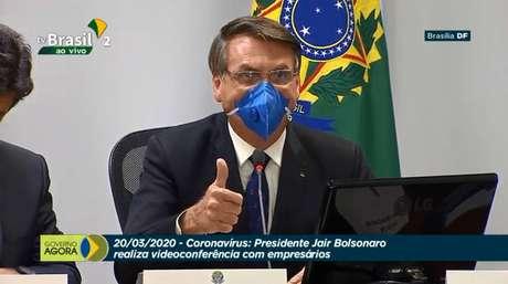 O presidente Jair Bolsonaro em videoconferência com empresários