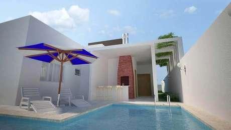 33. Decoração clean para área gourmet pequena com piscina – Foto: Eu Amo Decoração