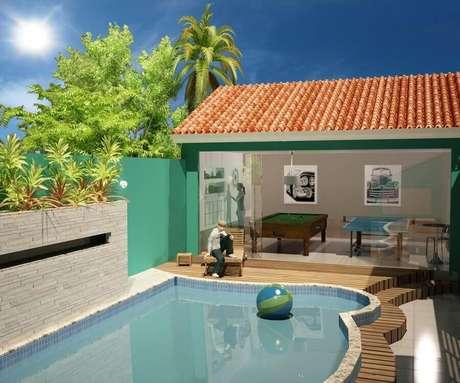 57. Projeto de casa com área gourmet pequena com piscina – Foto: Pinterest