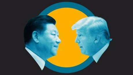 Graphic of Xi and Trump