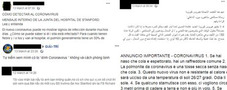 Reprodução de outra versão do post em diferentes idiomas, incluindo falsas atribuições ao Hospital de Stanford