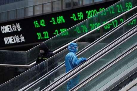 Pedestre com traje de preteção passa em frente a telão com flutuações do mercado de ações 13/03/2020 REUTERS/Aly Song