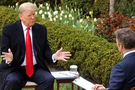 Presidente dos EUA, Donald Trump, durante entrevista à Fox News na Casa Branca, em Washington  24/03/2020 REUTERS/Jonathan Ernst