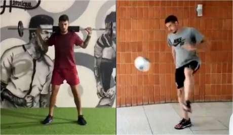 Pedro Henrique e Guilherme estão treinando em suas casas (Foto: Montagem/Reprodução/Twitter Corinthians)