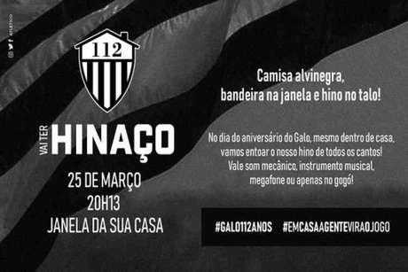 O atleticano poderá fazer um coro e cantar o hino alvinegro às 20h13 desta quarta-feira, 25 de março, aniversário do Clube Atlético-MG-(Reprodução)