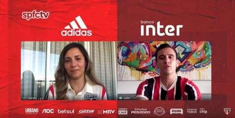 Pablo conversa com a apresentadora Gabriela Montesano na SPFCtv - FOTO: Reprodução/SPFCtv