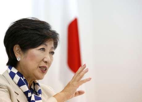 Yuriko Koike, governadora da capital do Japão, durante entrevista à Reuters, em Tóquio 06/10/2017 REUTERS/Issei Kato