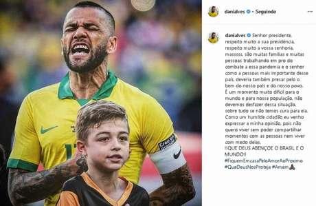 A postagem de Daniel Alves em seu Instagram - FOTO: Reprodução