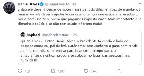 Daniel Alves voltou a tecer críticas ao presidente Jair Bolsonaro (Foto: Divulgação/Twitter)