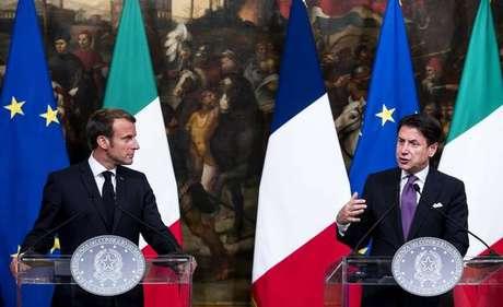Emmanuel Macron e Giuseppe Conte durante reunião em Roma, na Itália, em setembro de 2019