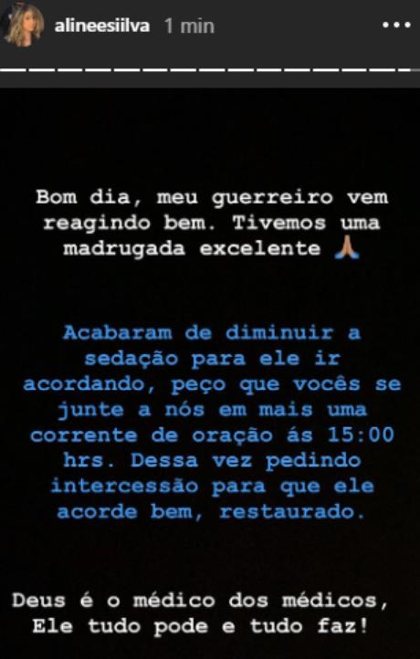 Aline relata melhora de Felipe (Foto: Reprodução/Instagram)