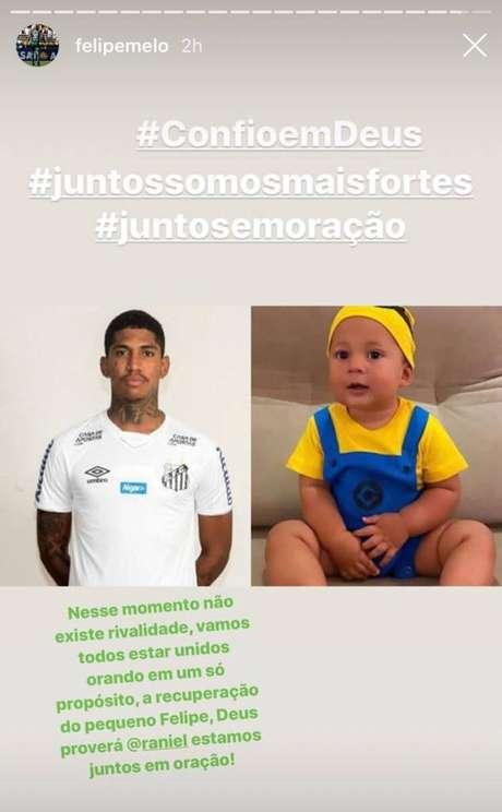 Felipe Melo postou mensagem de apoio ao filho de Raniel (Foto: Reprodução/Instagram)