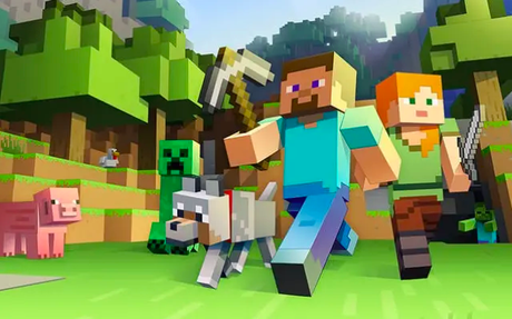 Steve, ao centro, sua picareta e uma mina de ouro criada a partir de jogadores mirins.