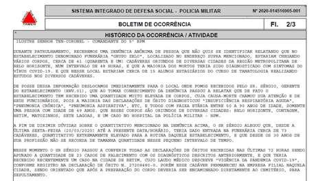 Extrato de boletim de ocorrência que registra a chegada de 41 corpos a funerária em Belo Horizonte
