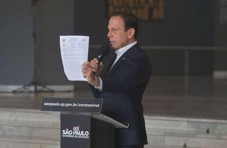 Governador João Doria concede entrevista coletiva de imprensa