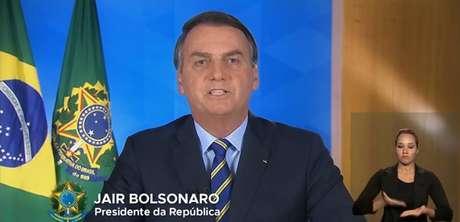 Presidente Jair Bolsonaro durante pronunciamento em cadeia nacional de rádio e TV