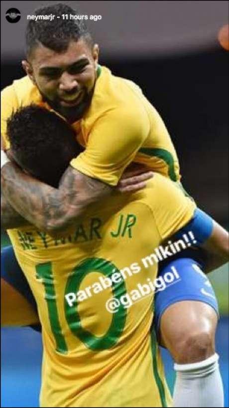 Neymar e Gabigol foram medalha de ouro nos Jogos Olímpicos do Rio (Foto: Reprodução/ Instagram)