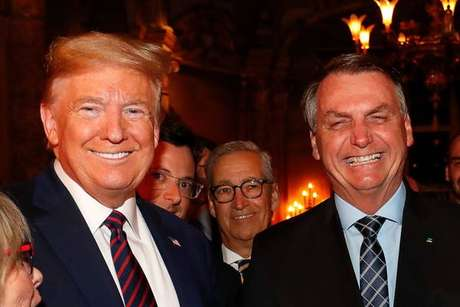 Donald Trump e Jair Bolsonaro durante encontro no resort de Mar-a-Lago, na Flórida, em 7 de março