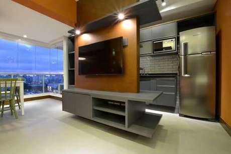 77. Painel para tv com led usado como divisória de ambientes – Projeto: Zark Studio Lab Servicos ltdz