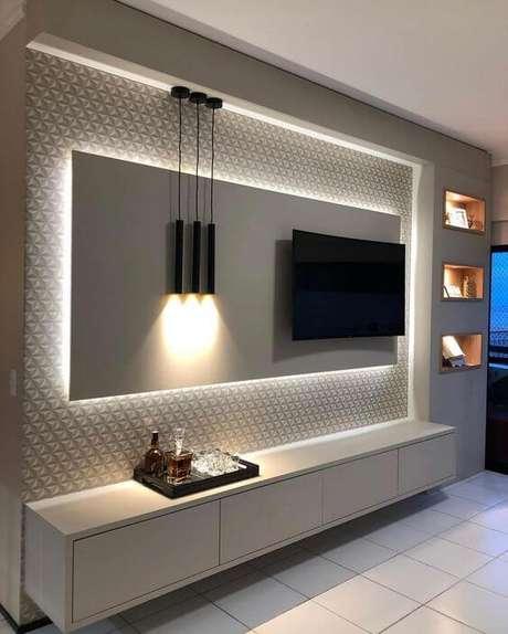 6. Painel para tv com led para quarto moderno – Via: Pinterest