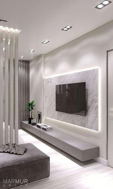 36. Painel para tv de mármore – Via: Pinterest