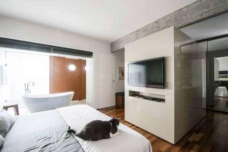 57. Decore seu quarto com o painel para tv – Projeto: AM Studio Arquitetura