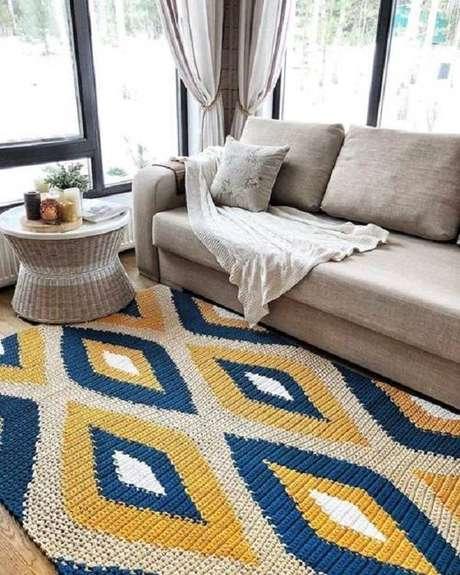 22. Combinação de cores em um atapete de barbante traz muito elegância ao ambientes – Foto: Via Pinterest