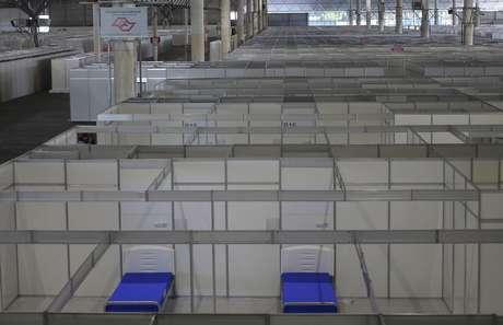 Visão de hospital temporário montado no pavilhão de exposições do Anhembi, em São Paulo 02/04/2020 REUTERS/Rahel Patrasso