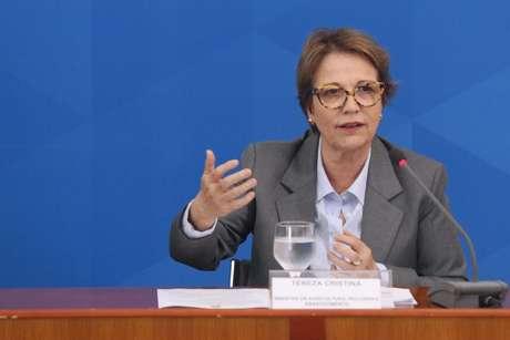 A Ministra da Agricultura, Tereza Cristina, durante coletiva de imprensa no Palácio do Planalto em Brasília (DF)