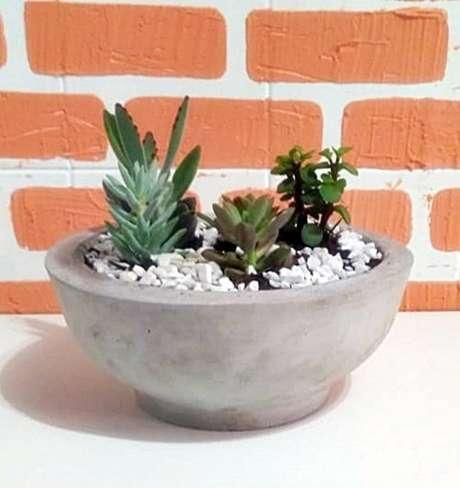 17. Vaso de cimento são ótimas opções para suculentas – Foto: Via Pinterest