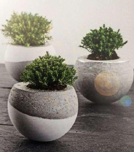 18. Vasos para cimento arredondados também são perfeitos – Foto: Como fazer em casa