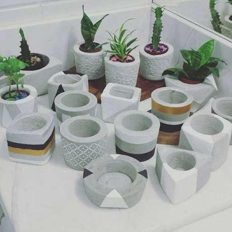 33. Vasos para suculentas de cimento podem ser muito variados – Foto: Via Pinterest