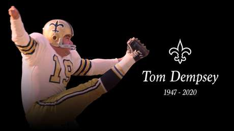 Lenda da NFL, Tom Dempsey morre aos 73 anos por complicações do coronavírus.