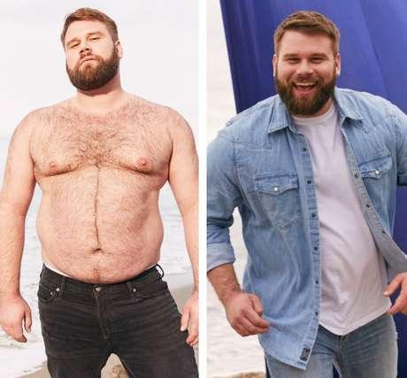 O modelo em dois momentos da campanha da Abercrombie & Fitch em prol da valorização de corpos comuns