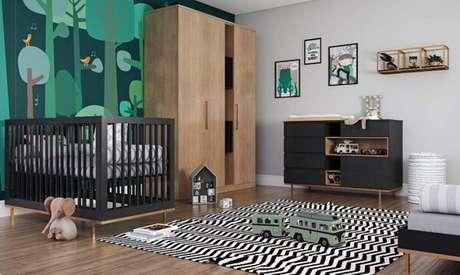 67- O quadro para quarto de bebê segue a mesma temática safari do quarto. Fonte: Mundo do Bebê