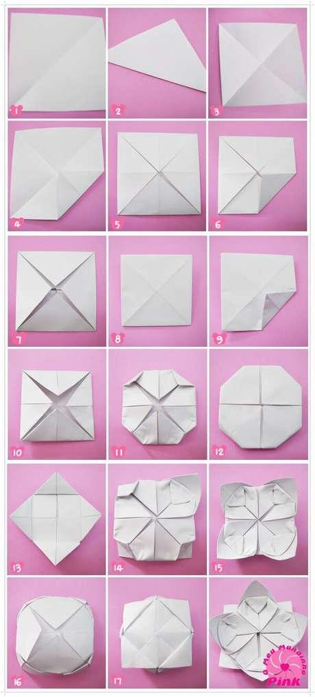 8. Passo a passo de como fazer flor fácil de origami – Foto: Via Pinterest